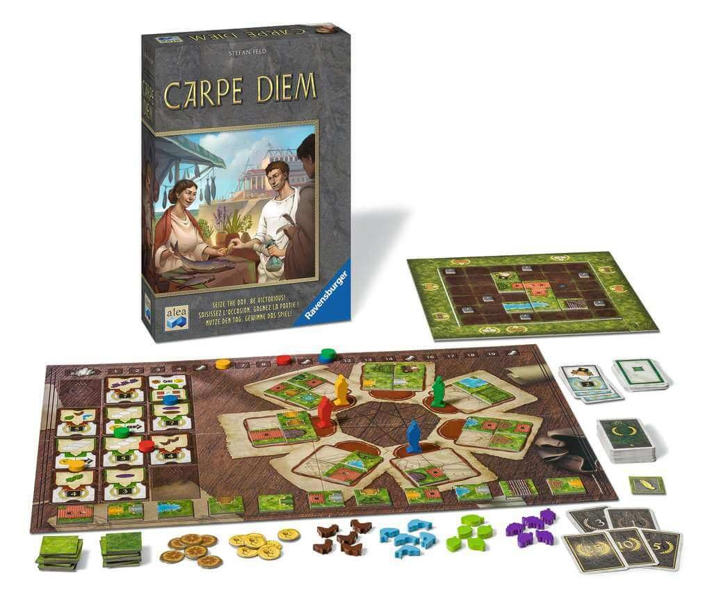 carpe diem box and contents nominee of Kennerspiel des Jahres 2019